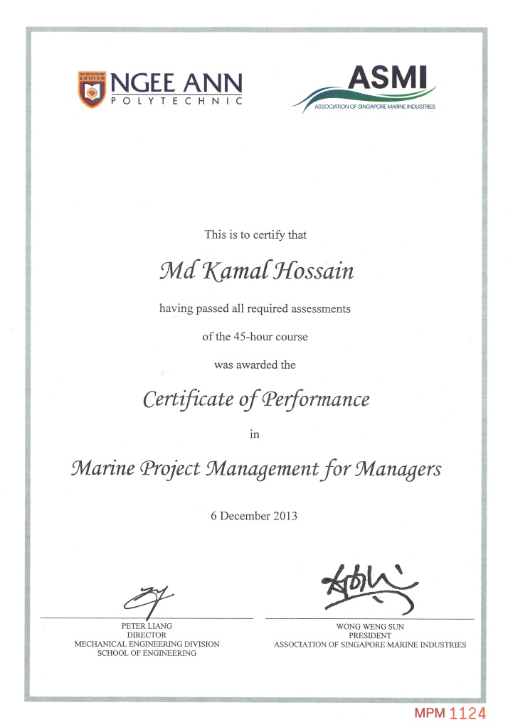Marine Project Management Certificate Of Md Kamal Hossain Hossain