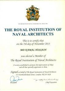 RINA Elected Membership Certificate of Engr Kamal Hossain